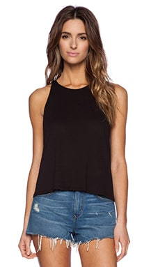 Enza Costa Cropped Sheath Tank in Black