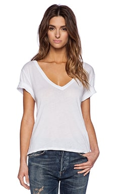 Enza Costa Boy Shortsleeve V Neck Tee in White
