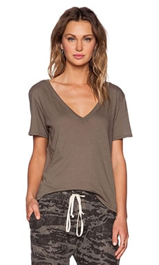 Enza Costa Boy Shortsleeve V Neck Tee in Army