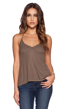 Enza Costa Rib Tuck Tank in Army