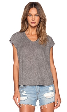 Enza Costa Twist Jersey Sleeveless Cropped V in Heather Grey