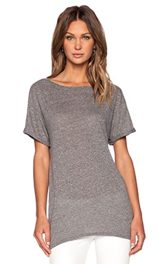 Enza Costa Twist Jersey Easy Crew Tee in Heather Grey