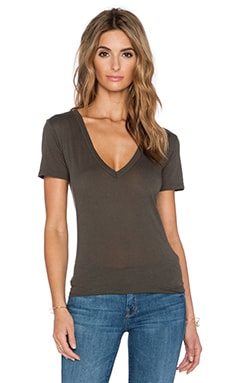 Enza Costa Tissue Jersey Loose V Tee in Olive Drab