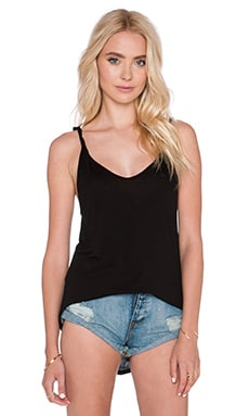 Enza Costa Silk Jersey Twist Back Tank in Black
