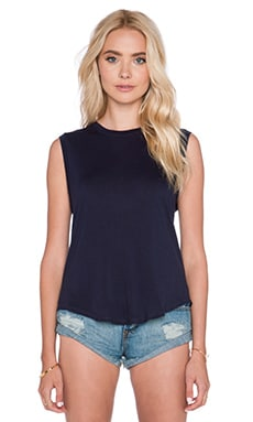 Enza Costa Silk Rib Cropped Muscle Tank in Black Iris