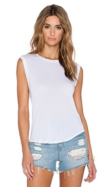Enza Costa Silk Rib Cropped Muscle Tank in White