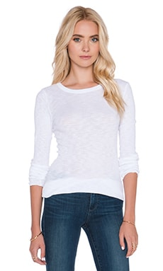 Enza Costa Sheer Slub Rib Long Sleeve Crew Tee in White