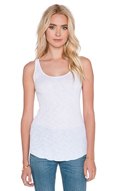 Enza Costa Sheer Slub Rib Baseball Tank in White
