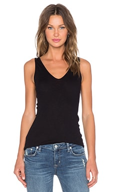 Enza Costa Sheer Slub Rib U Tank in Black