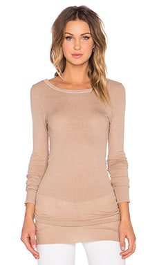 Enza Costa Silk Rib Long Sleeve Crew Tee in Mojave