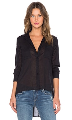 Enza Costa Hi-Lo Shirt in Black