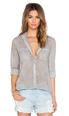 Enza Costa Hi Lo Button Up in Granite Oil Wash