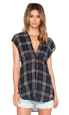 Enza Costa Sleeveless Tunic in Navy Plaid