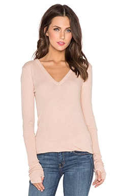Enza Costa Cashmere Cuffed V Neck Long Sleeve Tee in Nude