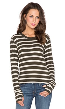 Enza Costa Cashmere Loose Long Sleeve Tee in Olive Night & Oatmeal