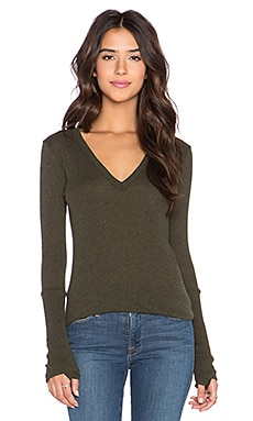 Enza Costa Cashmere Cuffed V Neck Long Sleeve Tee in Olive