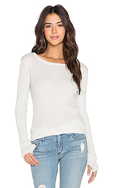 Enza Costa Cashmere Split Hem Long Sleeve Tee in Ash