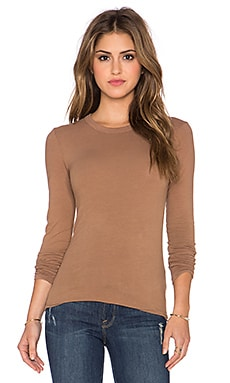 Enza Costa Bold Long Sleeve Tee in Dark Camel