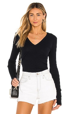 Cashmere Cuffed V Neck Long Sleeve Tee in Cadet