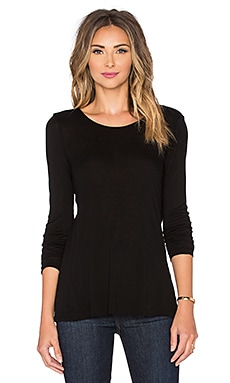 Enza Costa Back Overlap Long Sleeve Top in Black