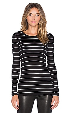 Enza Costa Rib Fitted Long Sleeve Crew Neck Top in Black and White