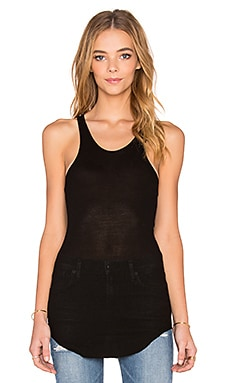Enza Costa Silk Rib Racer Tank in Black
