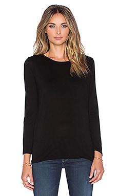 Enza Costa Bracelet Crew Neck Top in Black