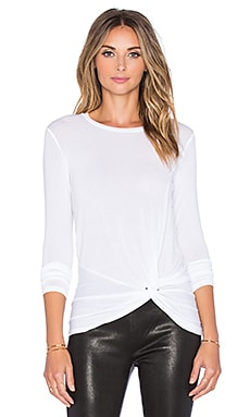 Long Sleeve Side Knot Crew Neck Top in Optic White