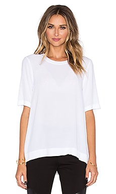 Enza Costa Short Sleeve Trapeze Top in Optic White