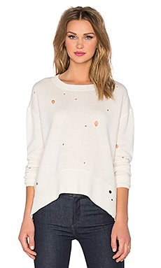 Enza Costa Cashmere Oversize Crew Neck Top in Bleach