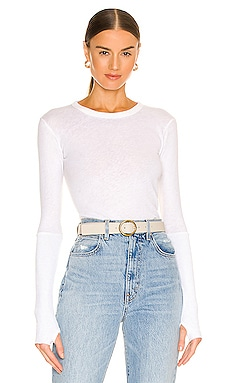Cashmere Cuffed Crew Neck Top in White