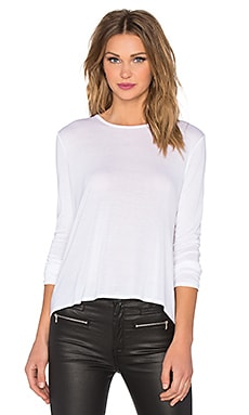 Enza Costa Long Sleeve Back Pleat Top in White