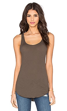 Enza Costa Rib Fitted Baseball Tank in Black Olive