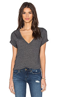 Enza Costa Boy V-Neck Tee in Black Olive