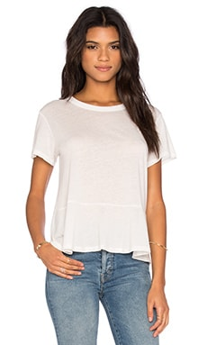 Enza Costa Peplum Short Sleeve Tee in Cloud