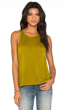 Enza Costa Cropped Sheath Tank in Ecru Olive