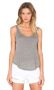 Enza Costa Baseball Scoop Tank in Heather Grey
