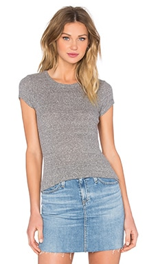 Enza Costa Rib Fitted Cap Sleeve Top in Heather Grey