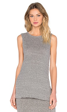 Enza Costa Rib Easy Sleeveless Tunic in Heather Grey