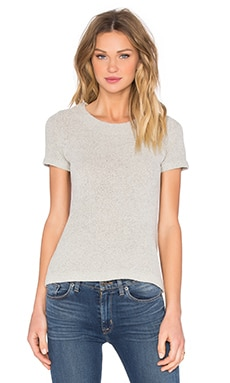 Enza Costa Easy Crew Neck Tee in White Pepper