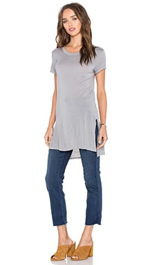 Enza Costa Cap Sleeve Side Slit Tunic in Stone