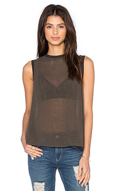 Enza Costa Sleeveless Trapeze Top in Black Olive
