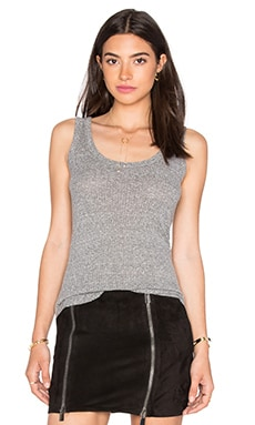 Enza Costa Mock Twist Jersey Rib Fitted Baseball Tank in Heather Grey