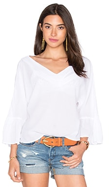 Peasant Voile Loose Ruffle Sleeve Top en Blanco