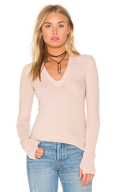 Enza Costa Cashmere Jersey Cuffed Top in Nude
