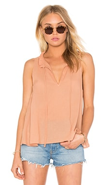 Peasant Voile Ruffle Neck Henley Tank in Clay