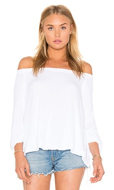 Stretch Crepe Jersey Off Shoulder Top en Blanc