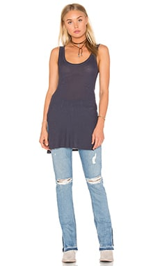 Silk Rib Jersey Side Slit Tank in Tempest
