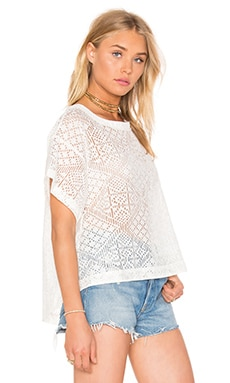 Enza Costa Burnout Viscose Cropped Boxy Top in Natural