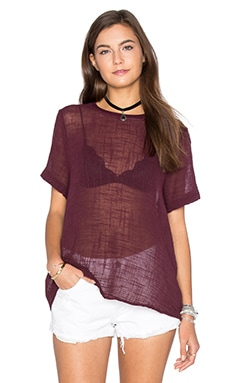 Enza Costa Cotton Gauze Short Sleeve Trapeze Top in Port